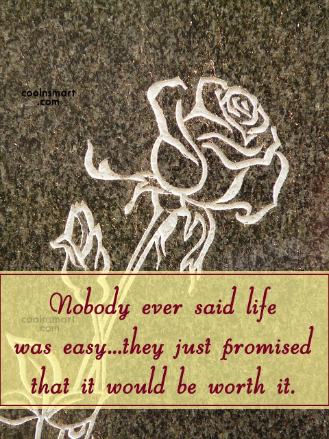 Life Quote: Nobody ever said life was easy…they just...