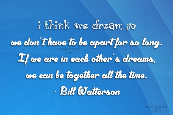 Long Distance Relationship Quote: I think we dream so we don't...