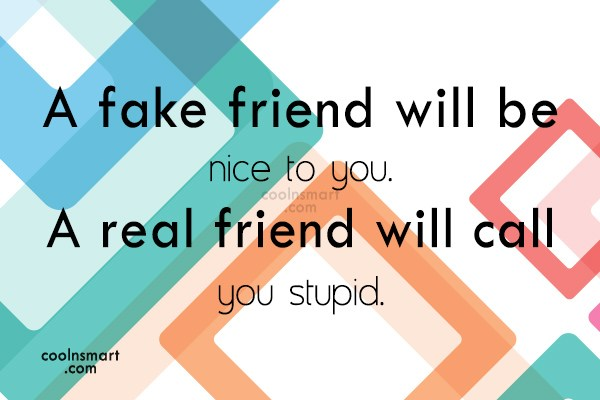 Best Friend Quote: A fake friend will be nice to...