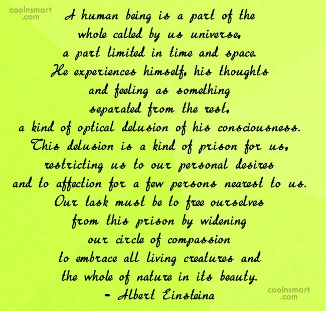Compassion Quote: A human being is a part of...