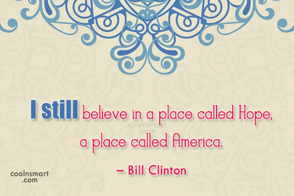 Quote: I still believe in a place called...