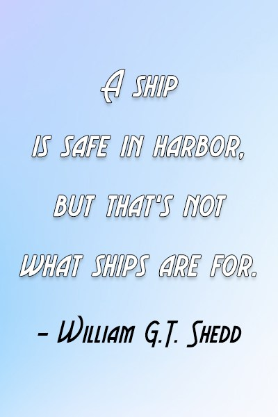 Risk Quote: A ship is safe in harbor, but...