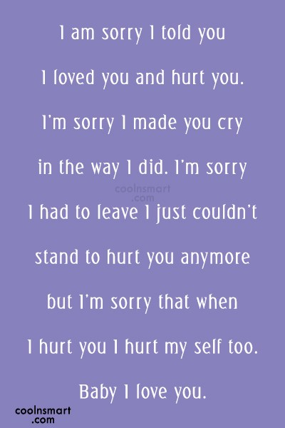 Im Sorry Baby I Love You Quotes Images with Quotes (8728 quotes ...