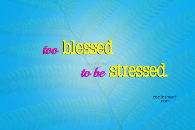 Stress Quote: Too blessed to be stressed.