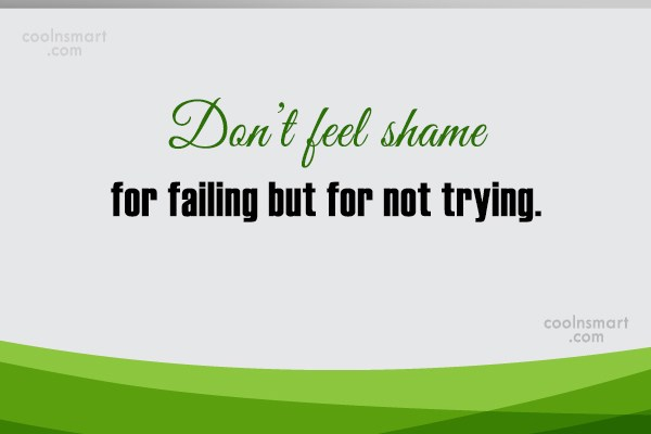 Failure Quote: Don't feel shame for failing but for...
