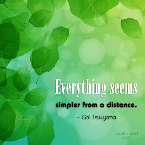 Simplicity Quote: Everything seems simpler from a distance. –...
