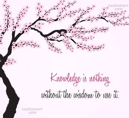 Quote: Knowledge is nothing without the wisdom to...