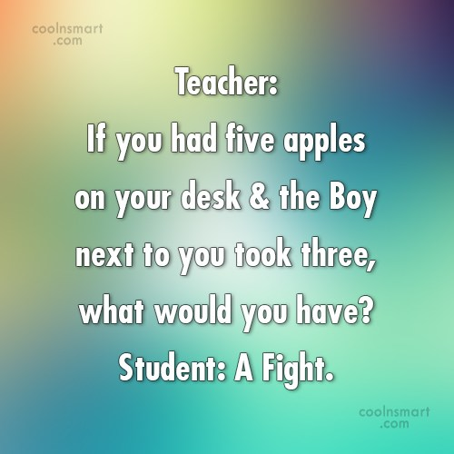 Math Quote: Teacher: If you had five apples on...