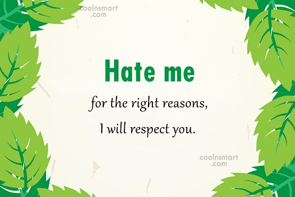 Hate Quote: Hate me for the right reasons, I...