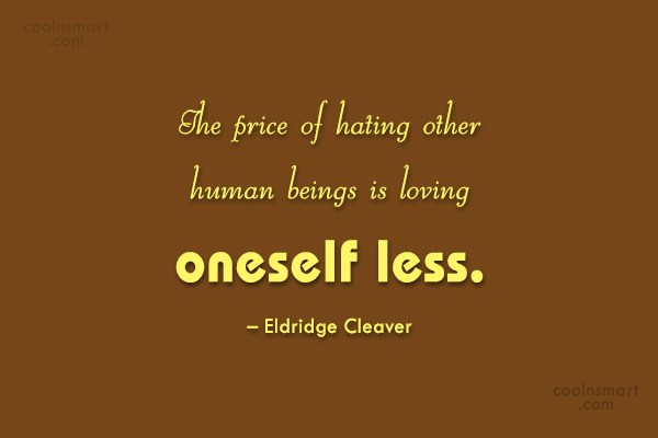Hate Quote: The price of hating other human beings...