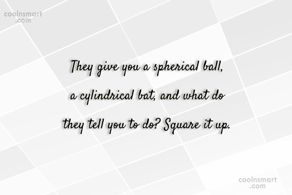 Baseball Quote: They give you a spherical ball, a...