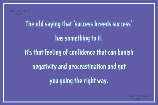 """Confidence Quote: The old saying that """"success breeds success""""..."""