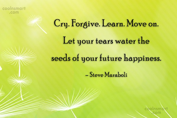 Quote: Cry. Forgive. Learn. Move on. Let your...