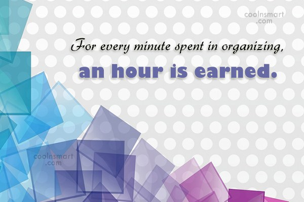 Time Quote: For every minute spent in organizing, an...