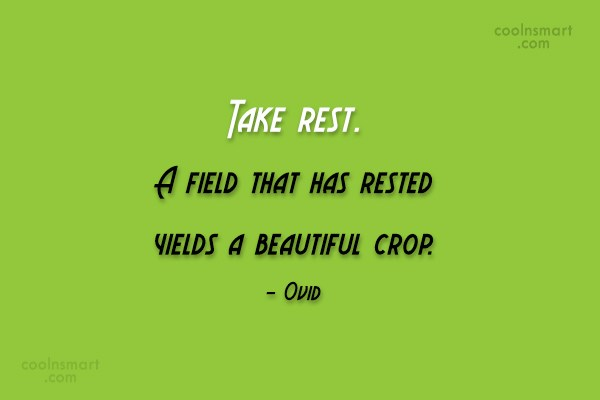 Time Quote: Take rest. A field that has rested...