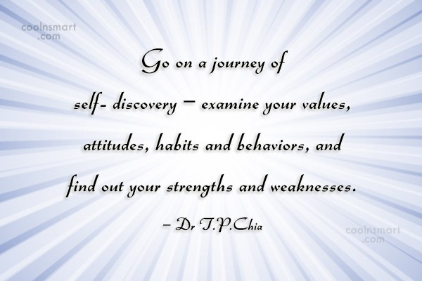 Character Quote: Go on a journey of self- discovery...