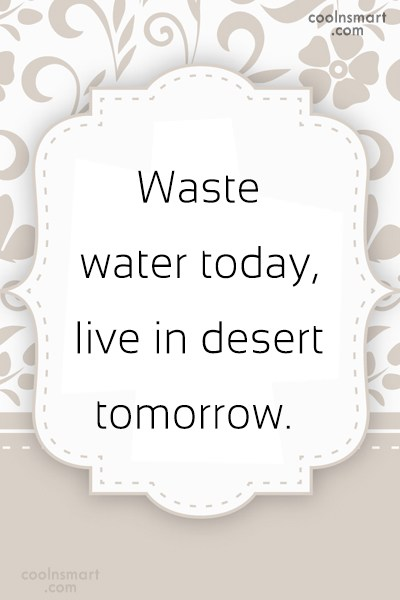 Environment Quote: Waste water today, live in desert tomorrow.