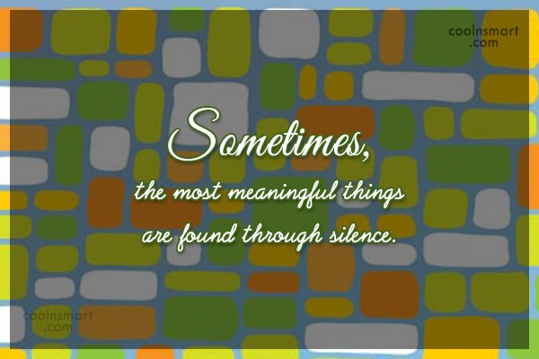 Silence Quote: Sometimes, the most meaningful things are found...