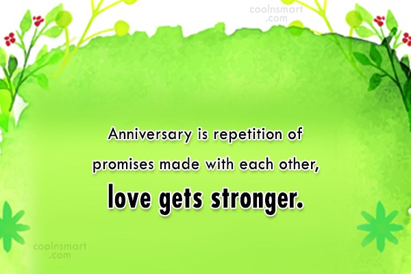 Anniversary Quote: Anniversary is repetition of promises made with...