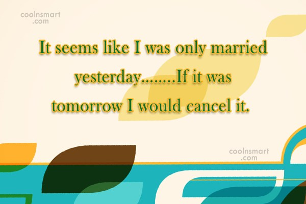 Funny Marriage Quotes Quote: It seems like I was only married...