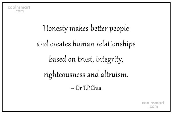 Honesty Quote: Honesty makes better people and creates human...