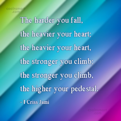 Strength Quote: The harder you fall, the heavier your...