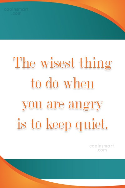 Anger Quote: The wisest thing to do when you...