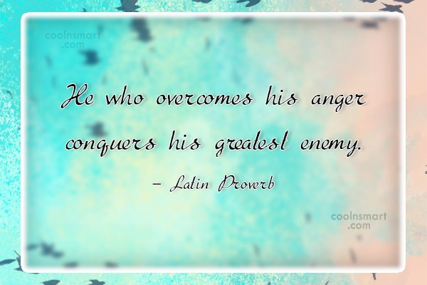 Anger Quote: He who overcomes his anger conquers his...