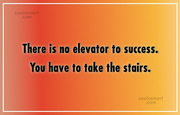 Success Quote: There is no elevator to success. You...