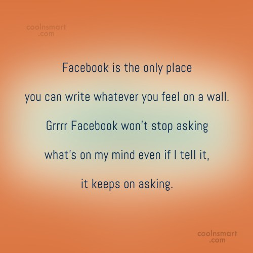 Facebook Status Quote: Facebook is the only place you can...