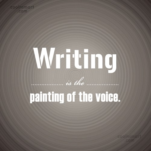 Writing Quote: Writing is the painting of the voice.