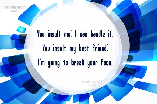 Best Friend Quote: You insult me: I can handle it....