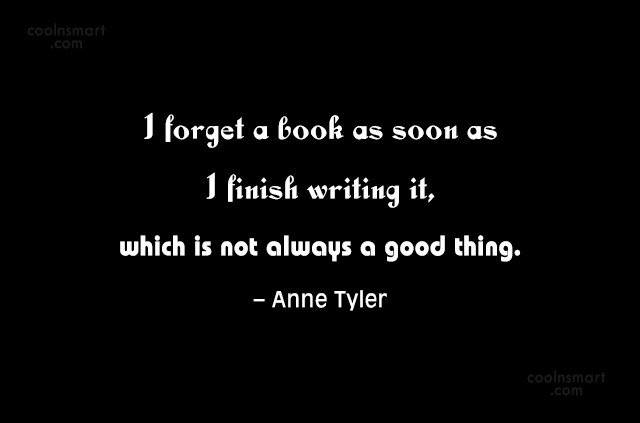 Book Quote: I forget a book as soon as...