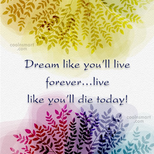 Dream Quote: Dream like you'll live forever…live like you'll...