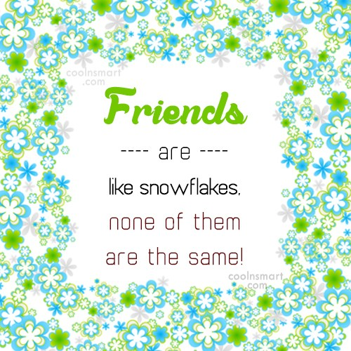 Friendship Quote: Friends are like snowflakes, none of them...