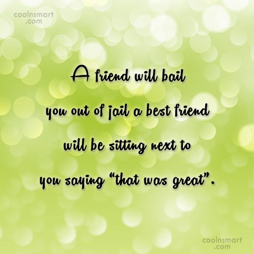 Friendship Quote: A friend will bail you out of...