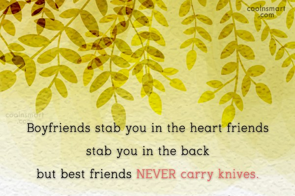 Friendship Quote: Boyfriends stab you in the heart friends...
