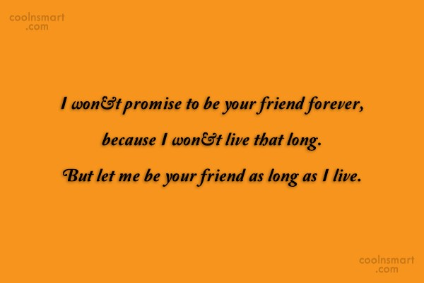 Friendship Quote: I won't promise to be your friend...