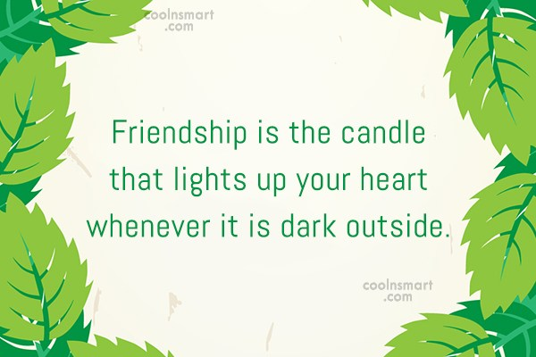 Friendship Quote: Friendship is the candle that lights up...