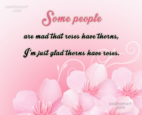Positive Quote: Some people are mad that roses have...