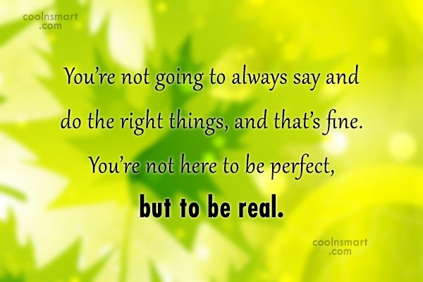 Perfection Quote: You're not going to always say and...