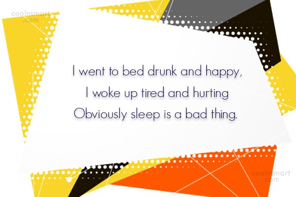 Alcohol Quote: I went to bed drunk and happy,...