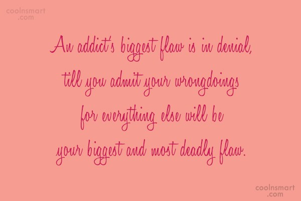 Drugs Quote: An addict's biggest flaw is in denial,...