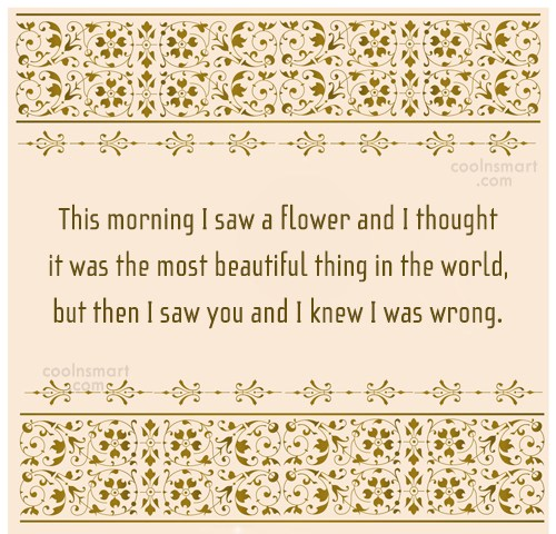 Flirting Quote: This morning I saw a flower and...