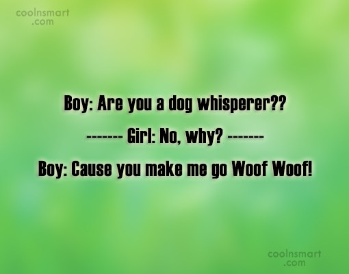 Flirting Quote: Boy: Are you a dog whisperer?? Girl:...