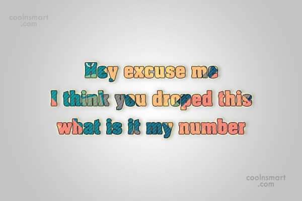 Flirting Quote: Hey excuse me I think you droped...