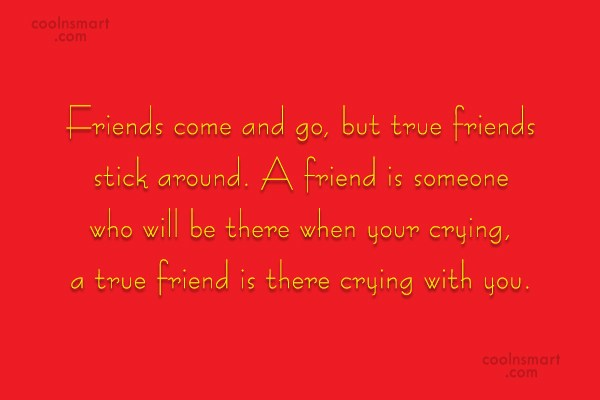 Friendship Quote: Friends come and go, but true friends...