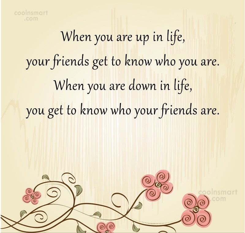 Friendship Quote: When you are up in life, your...