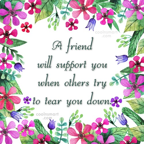 Friendship Quote: A friend will support you when others...