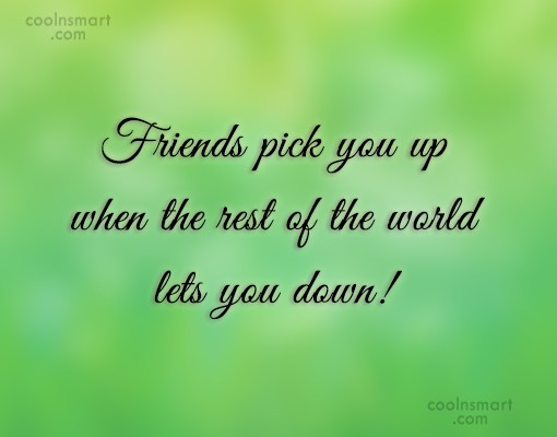 Friendship Quote: Friends pick you up when the rest...